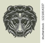 illustration of grizzly head... | Shutterstock .eps vector #1221814237