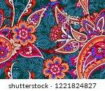 seamless folk indian pattern  | Shutterstock .eps vector #1221824827