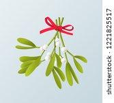 vector 3d realistic mistletoe... | Shutterstock .eps vector #1221825517