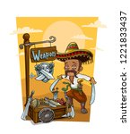 cartoon funny mexican bandit... | Shutterstock .eps vector #1221833437