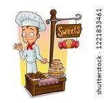 cartoon young chef cook... | Shutterstock .eps vector #1221833461