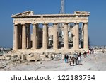 Small photo of ATHENS, GREECE - JUNE 29: Tourists in famous old city Acropolis Parthenon Temple on June 29, 2012 in Athens, Greece. Its construction began in 447 BC in the Athenian Empire. It was completed in 438 BC