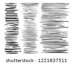 big collection of black paint ... | Shutterstock .eps vector #1221837511