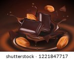 chocolate with almond seeds ... | Shutterstock .eps vector #1221847717