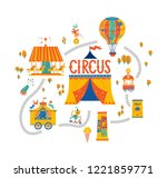 circus illustration set with... | Shutterstock .eps vector #1221859771