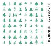 christmas tree icon set. flat... | Shutterstock .eps vector #1221864844