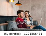 young smiling man and woman... | Shutterstock . vector #1221866491
