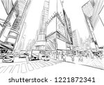 times square. new york. usa.... | Shutterstock .eps vector #1221872341