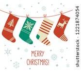 stockings christmas background. ... | Shutterstock .eps vector #1221874054