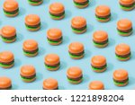 hamburger fast food pattern on... | Shutterstock . vector #1221898204