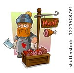 cartoon redhead butcher with... | Shutterstock .eps vector #1221908791