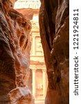 petra  jordan. tombs and... | Shutterstock . vector #1221924811