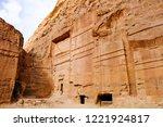 petra  jordan. tombs and... | Shutterstock . vector #1221924817