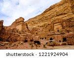petra  jordan. tombs and... | Shutterstock . vector #1221924904