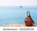 red leather backpack with santa ... | Shutterstock . vector #1221929134