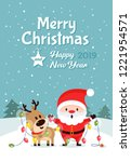 santa claus and deer with... | Shutterstock .eps vector #1221954571