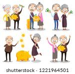 happy old people with gold... | Shutterstock .eps vector #1221964501