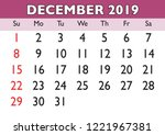 2019 calendar december month.... | Shutterstock .eps vector #1221967381