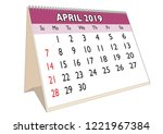 2019 april month in a desk... | Shutterstock .eps vector #1221967384