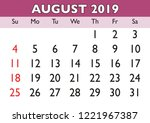 2019 calendar august month.... | Shutterstock .eps vector #1221967387