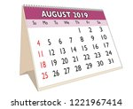 2019 august month in a desk... | Shutterstock .eps vector #1221967414