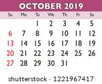 2019 calendar october month.... | Shutterstock .eps vector #1221967417