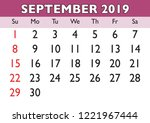 2019 calendar september month.... | Shutterstock .eps vector #1221967444