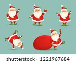 collection of cute christmas... | Shutterstock .eps vector #1221967684