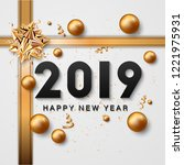 happy new year lettering and... | Shutterstock .eps vector #1221975931