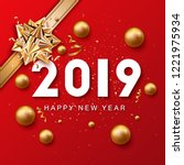 happy new year lettering and... | Shutterstock .eps vector #1221975934