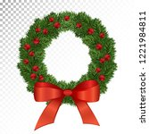 beautiful evergreen wreath of... | Shutterstock .eps vector #1221984811