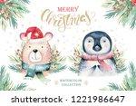 set of christmas woodland cute... | Shutterstock . vector #1221986647