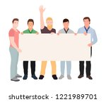 group of young men standing... | Shutterstock .eps vector #1221989701