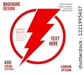 lighting thunder sign in circle ... | Shutterstock .eps vector #1221995437