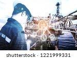 double exposure of engineer or... | Shutterstock . vector #1221999331