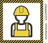 worker sign. vector. warm... | Shutterstock .eps vector #1221999967