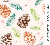 seamless pattern with pine... | Shutterstock .eps vector #1222001371