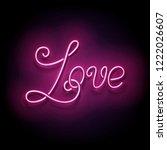 vintage glow signboard with... | Shutterstock . vector #1222026607