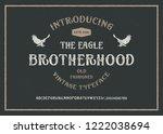 retro styled modern font.... | Shutterstock .eps vector #1222038694