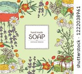 background with handmade soap ... | Shutterstock .eps vector #1222038961
