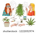 vector cannabis smoking sketch... | Shutterstock .eps vector #1222052974
