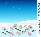 christmas new year snow country ... | Shutterstock .eps vector #1222056304