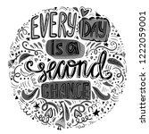 every day is a second chance ... | Shutterstock .eps vector #1222059001