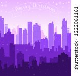 christmas new year snow city... | Shutterstock .eps vector #1222061161