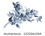 watercolor card with blue... | Shutterstock . vector #1222061344