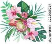 watercolor hibiscus  protea ... | Shutterstock . vector #1222065214