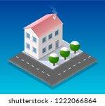 christmas city isometric urban... | Shutterstock .eps vector #1222066864