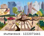realistic earthquake with... | Shutterstock .eps vector #1222071661