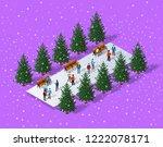 christmas city isometric urban... | Shutterstock .eps vector #1222078171