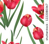 red tulips seamless pattern... | Shutterstock .eps vector #1222080367